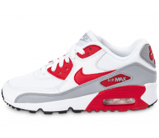 Chaussures Nike Air Max 90 Mesh Junior blanche et rouge