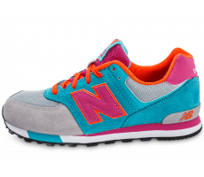 Chaussures New Balance KL574WTG grise et turquoise