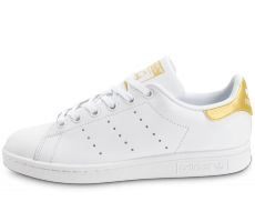 Chaussures adidas Stan Smith Junior blanche et or