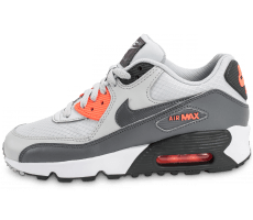 Chaussures Nike Air Max 90 Mesh Junior grise et orange