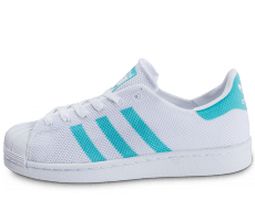 Chaussures adidas Superstar Mesh blanche et turquoise