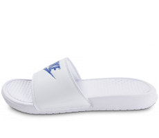 Chaussures Nike Benassi JDI blanche et bleue