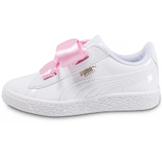 Chaussures Puma Suede Heart Patent Enfant Blanche