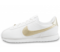 Chaussures Nike Cortez Basic Junior blanche et or