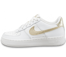 Chaussures Nike Air Force 1 Junior blanc et or