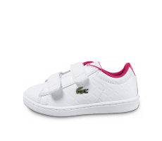 Chaussures Lacoste Carnaby Evo Bébé blanche et rose