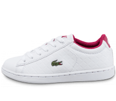 Chaussures Lacoste Carnaby Evo Enfant blanche et rose