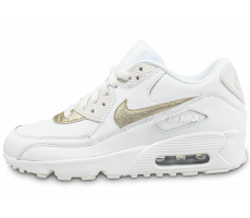 Chaussures Nike Air Max 90 Leather Junior blanche et or