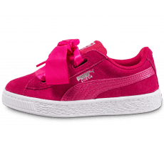 Chaussures Puma Suede Heart Love Enfant Rose