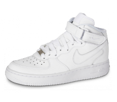 Chaussures Nike Air Force 1 J Mid triple blanc