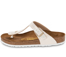 Chaussures Birkenstock Gizeh Shiny Snake Cream
