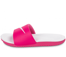 Chaussures Nike Kawa Slide rose et blanche
