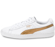 Chaussures Puma Basket blanche et or