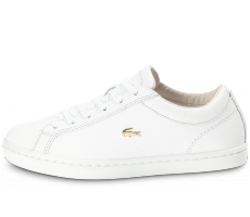 Chaussures Lacoste Straightset blanche et or