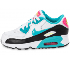 Chaussures Nike Air Max 90 Enfant blanche et turquoise